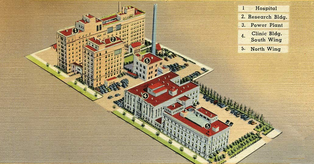 postcard of the cleveland clinic with a map