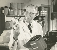 Willem Kolff, MD, PhD, holding a can