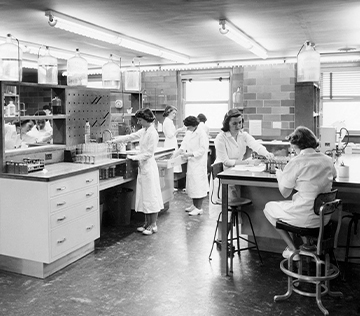 image of multiple women wearing white lab coats, working in a laboratory, analyzing blood.