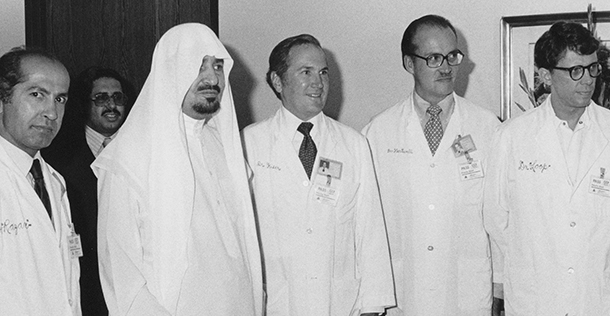 Mehdi Razavi, MD; King Khalid; William Kiser, MD; Shattuck Hartwell, MD; and Floyd Loop, MD.