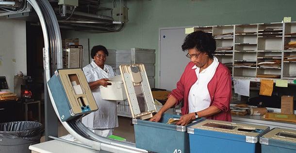 Two ladies, sorting files