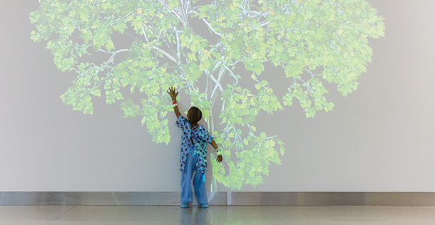 Little girl touching wall with a tree projected onto it