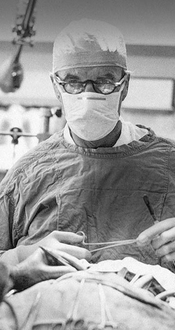 Male doctor, black and white