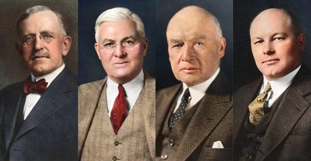 painted portraits of 4 men