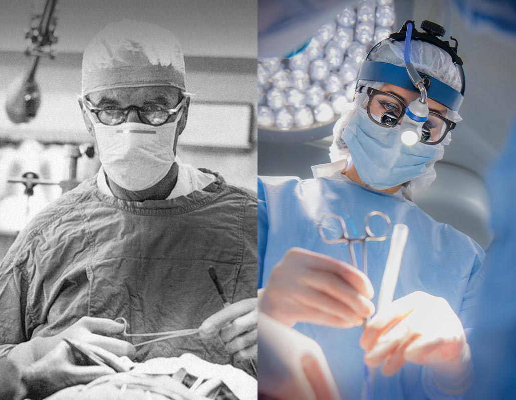 (left) male surgeon looking at patient, black and white. (right) female surgeon looking at patient