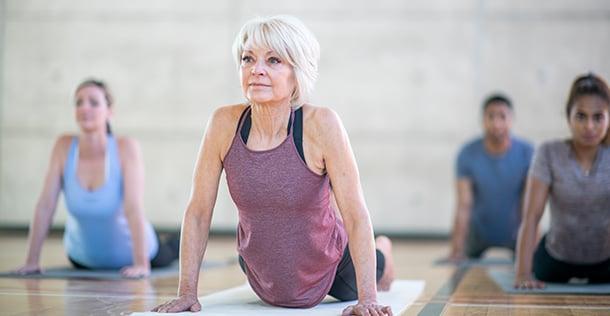 Older woman doing yoga