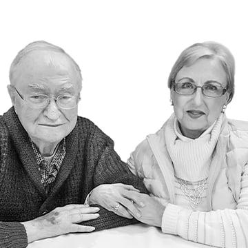 grayscale photograph of F. Gene and Ellen Braun
