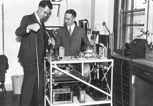 Otto Glasser, PhD with the first dosimeter